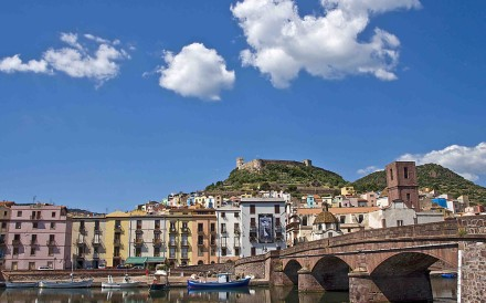 The town of Bosa, overlooked by a 12thcentury castle.