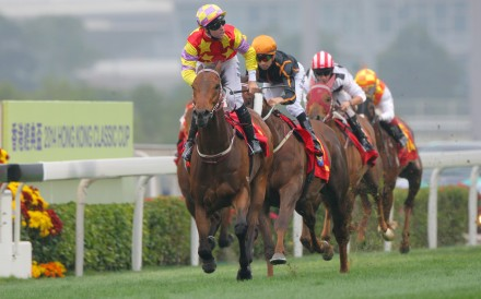 Tommy Berry's ride on Designs on Rome in the Classic Cup was the difference between winning and losing, as it played to the disadvantages of hot favourite Able Friend (Joao Moreira). Photo: Kenneth Chan
