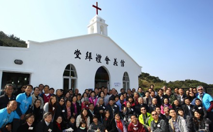 Villagers gather for the reopening of the Yan Kwong Lutheran Church in Ma On Shan. Photo: Dickson Lee
