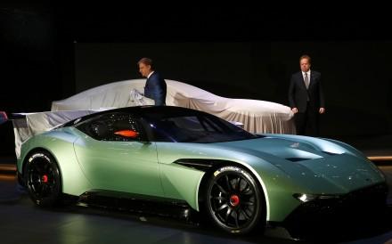 Aston Martin unveils its Vulcan concept car in Geneva. Photo: Reuters