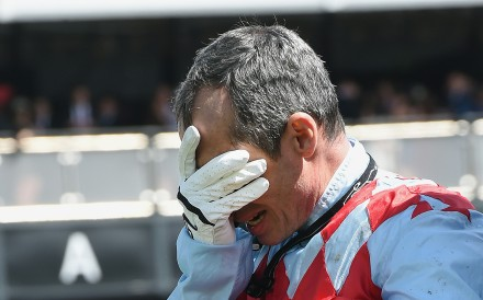 A distraught Gerald Mosse is inconsolable after Red Cadeaux broke down in the Melbourne Cup. This picture tells the story of the race, and of racing in general, as much as any other picture taken on the day. Photo: AP