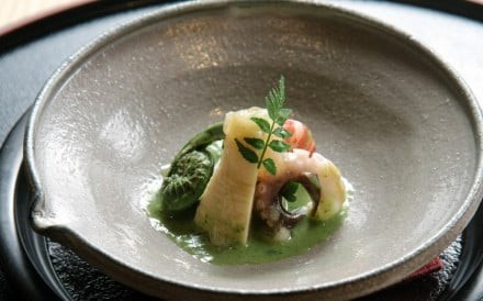Baby octopus with bamboo shoots, peas, kinome and miso atWagyu Kaiseki Den. Photo: Gary Ng