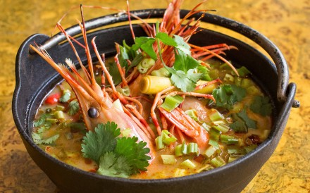 Maenam's hot and sour spot prawn soup.