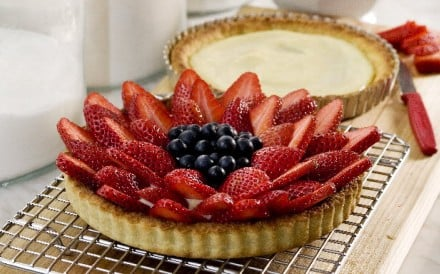 Strawberry-blueberry tart with pastry cream