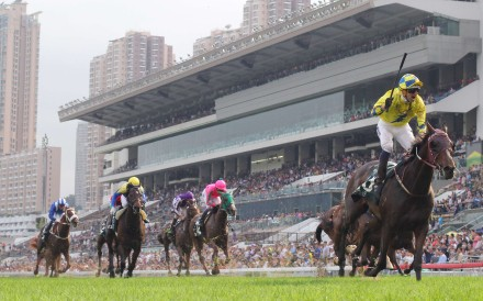 Werther, ridden by Hugh Bowman, left everything in its wake to win the Audemars Piguet QEII Cup. Photos: Kenneth Chan