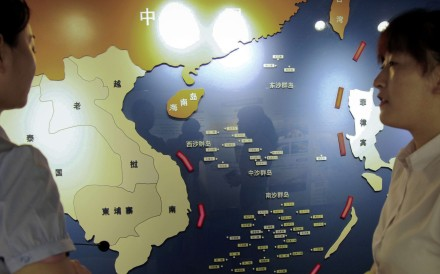 A map of South China Sea is on display at a maritime defence educational facility in Nanjing, Jiangsu province. Photo: AP