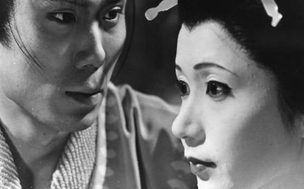 Kichiemon Nakamura and Shima Iwashita in a scene from Double Suicide, directed by Masahiro Shinoda.