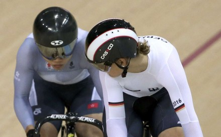 Hong Kong's Sarah Lee and Germany's Kristina Vogel tussle it out in the women's sprint quarter-finals. Photo: Reuters