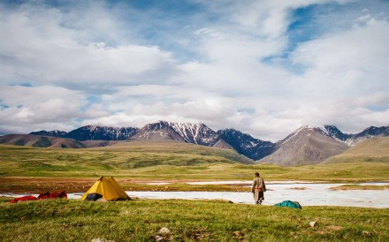 Tents being set up by the Shivreen River, in Western Mongolia. Pictures: Tessa Chan