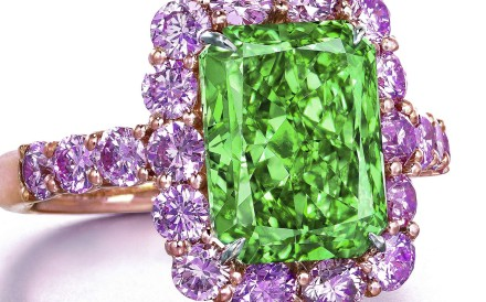The Aurora Green, the largest, natural fancy vivid-green diamond in the world, is rectangular cut and 5.03ct. Photo; Christie's