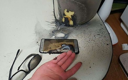 A Samsung Galaxy Note7 smartphone, pictured after its battery exploded. Samsung's recall of the phones is to cost a reported US$2 billion. Photo: AFP