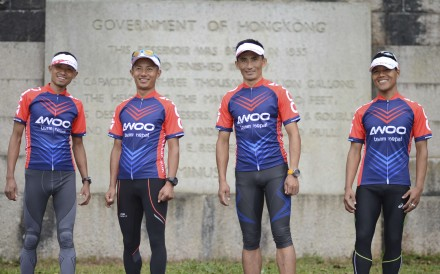 AWOO Team Nepal, who are competing in Oxfam Trailwalker 2016, at the Shing Mun reservoir. Photo: Antony Dickson
