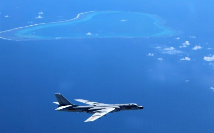 A Chinese H-6K bomber patrols the islands and reefs in the South China Sea. Photo: Xinhua via AP