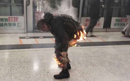Image result for Man arrested after firebomb attack on Hong Kong MTR train injures at least 18