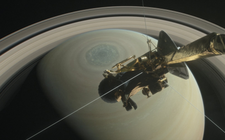 An illustration of the Cassini spacecraft over Saturn's north pole with its hexagon-shaped storm. Photo: NASA/JPL-Caltech