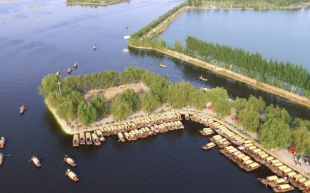 An aerial view of boats in Baiyang Lake in Anxin county, in Hebei province, around which the Xiongan New Area will take shape. Photo: EPA