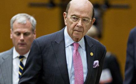 US Commerce Secretary Wilbur Ross arrives for a speech in Washington. Ross warned US dominance in the semi-conductor nat be eroded by China. Photo: Bloomberg