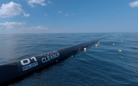 The Ocean Cleanup computer rendering, close-up view. Photo: Erwin Zwart /