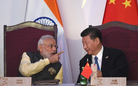 Indian Prime Minister Narendra Modi and President Xi Jinping at the BRICS leaders' meeting with the bloc's business council, in the Indian state of Goa, last October. Photo: AFP