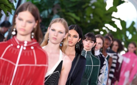 Models walk the runway for the Valentino Resort 2018 runway show. Photo: AFP