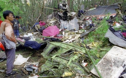 The wreckage of the Lauda Air plane that crashed in May 1991, in a Thai jungle. Picture: AFP