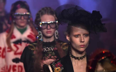 Models present creations for fashion house Gucci as part of the 2017 Women's spring/summer collections shows at Milan Fashion Week in 2016.