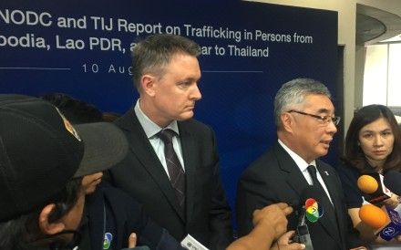 Jeremy Douglas, regional representative of the United Nations Office on Drugs and Crime (UNODC), and Kittipong Kittayarak, Executive Director of the Thailand Institute of Justice. Photo: Reuters