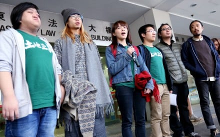 (From left) Chu Wai-chung, Leung Hiu-yeung, Ho Kit-wang, Raphael Wong Ho-ming and Lau Kwok-leung are among the 13 activists convicted for unlawful assembly. Photo: Nora Tam