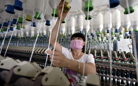 A file picture of a textile factory in Linyi in Shandong province. Photo: AFP
