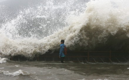 The sea around parts of the territory swelled up to 4.5 metres in height, inundating coastal and low-lying areas with a powerful storm surge. Photo: Sam Tsang