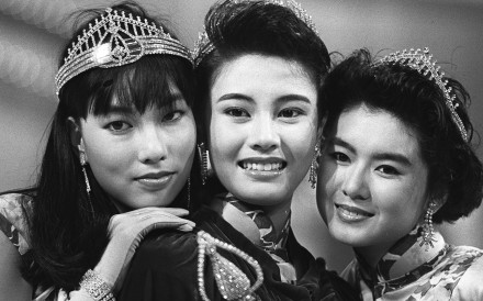 Michelle Reis (centre), Miss Hong Kong 1988, with first runner-up Sheila Chan Suk-lan (right) and second runner-up Cynthia Cheung Yuk-lui.