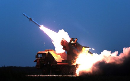 A ground missile is fired to intercept an incoming threat during China's drill near Bohai Bay on Tuesday. Photo: Handout