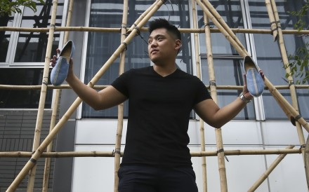 Angus Ko, who turns discarded bamboo scaffolding into shoes, is convinced that sustainable concepts such as wearable waste are the future of fashion. Photo: Jonathan Wong