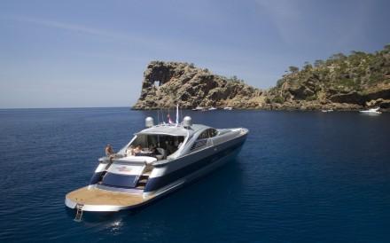 The yacht office makes work a pleasure off the coast of Majorca, Spain.
