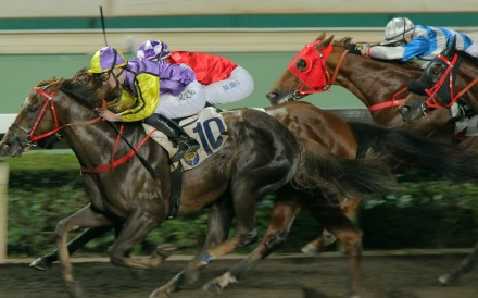 I'm The Won For You (left) wins on the all-weather track at Sha Tin in January. Photos: Kenneth Chan