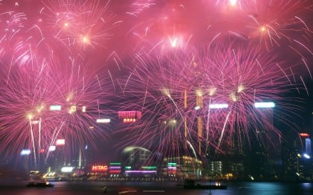 Fireworks over Victoria Harbour from Tsim Sha Tsui.