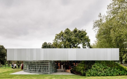 Designed by Rem Koolhaas' architecture firm OMA, the latest MPavilion is the fourth in a series erected in Melbourne's Queen Victoria Gardens. Photo: Timothy Burgess
