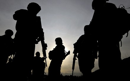 US soldiers outside Bagram Airbase, 50kms north of Kabul. Photo: AFP