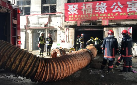 Two officials have been suspended in Beijing's Daxing district over a fire that killed 19 people earlier this month. Photo: Reuters