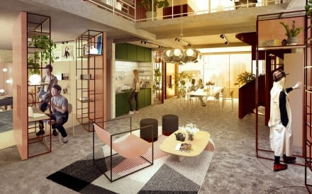 A rendering of the co-living apartment building by BMW Mini Living in Shanghai, China.