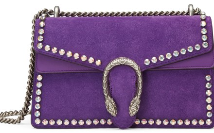 The Gucci Dionysus bag in suede, with crystal embellishments, is one expression of ultraviolet, Pantone's colour of the year.