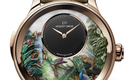 Jaquet Droz. The artistic timepiece, with a black onyx sub-dial, features hand-engraved and hand-painted decorations, including a peacock, tropical leaves, a humming bird, a toucan, dragonflies and a waterfall, on its white mother-of-pearl dial, HK$5.37 million