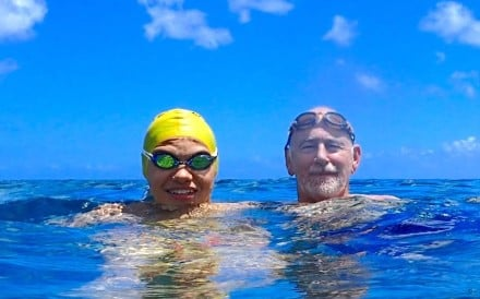 Bill and Kenneth Thorley – Ken coaches his son in open water swimming but balances pushing him and making sure he has fun. Photos: Handout