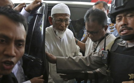 Ailing radical cleric Abu Bakar Bashir arriving at Cipto Mangunkusumo Hospital in Jakarta, Indonesia on Thursday, March 1, 2018. Photo: AP