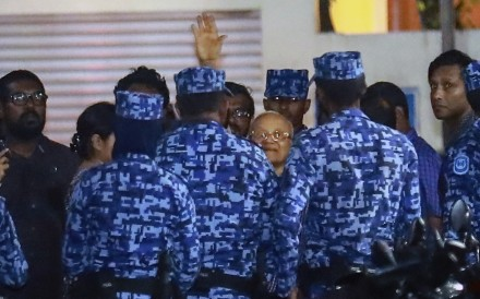 Police arrest former Maldives president and opposition leader Maumoon Abdul Gayoom in February. File photo: AP