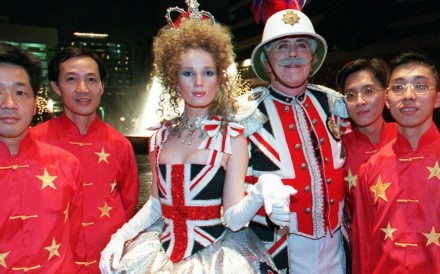 Revellers dressed in the British and Chinese national colours, at a handover party in Kowloon, on July 1, 1997. Photo: AFP
