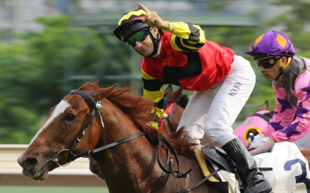 Brett Prebble and Lucky Bubbles win the Premier Bowl at Sha Tin in October 2016. Photo: Kenneth Chan