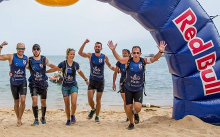 Victoria Recreation Club cross the line in record time at the Red Bull 3 Peaks race. Photos: Red Bull