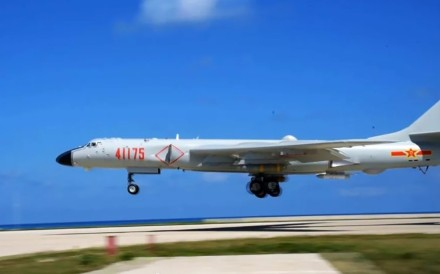 A strategic H-6K bomber from China's air force recently conducted take-off and landing exercises on Woody Island, China's largest base in the Paracel Islands in the South China Sea. Photo: Handout