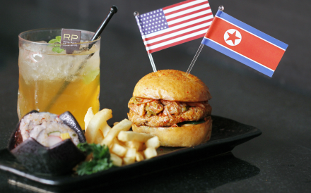 Royal Plaza on Scotts will be serving the Trump-Kim burger and Summer Iced Tea every evening at the hotel's lounge from June 8 to 15. Photo: Royal Plaza on Scotts